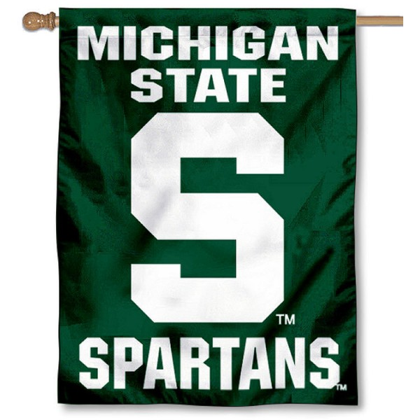 Michigan State University House Flag is a vertical house flag which measures 30x40 inches, is made of 2 ply 100% polyester, offers dye sublimated NCAA team insignias, and has a top pole sleeve to hang vertically. Our Michigan State University House Flag is officially licensed by the selected university and the NCAA