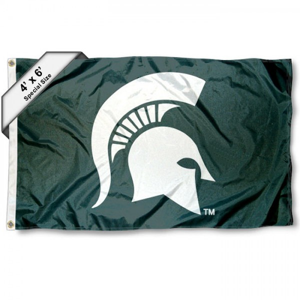 Michigan State University Large 4x6 Flag measures 4x6 feet, is made thick woven polyester, has quadruple stitched flyends, two metal grommets, and offers screen printed NCAA Michigan State University Large athletic logos and insignias. Our Michigan State University Large 4x6 Flag is officially licensed by Michigan State University and the NCAA.
