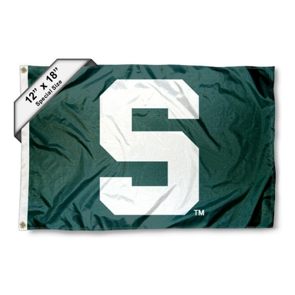 Michigan State University Mini Flag is 12x18 inches, polyester, offers quadruple stitched flyends for durability, has two metal grommets, and is double sided. Our mini flags for Michigan State University are licensed by the university and NCAA and can be used as a boat flag, motorcycle flag, golf cart flag, or ATV flag