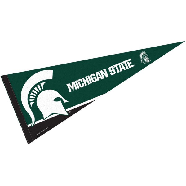 Michigan State University Pennant consists of our full size sports pennant which measures 12x30 inches, is constructed of felt, is single sided imprinted, and offers a pennant sleeve for insertion of a pennant stick, if desired. This MSU Spartans Pennant Decorations is Officially Licensed by the selected university and the NCAA.
