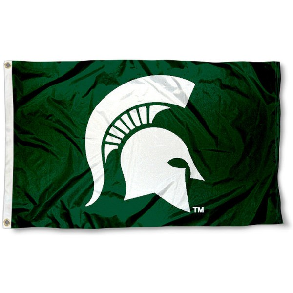 Michigan State University Spartan Flag measures 3x5 feet, is made of 100% polyester, offers quadruple stitched flyends, has two metal grommets, and offers screen printed NCAA team logos and insignias. Our Michigan State University Spartan Flag is officially licensed by the selected university and NCAA.