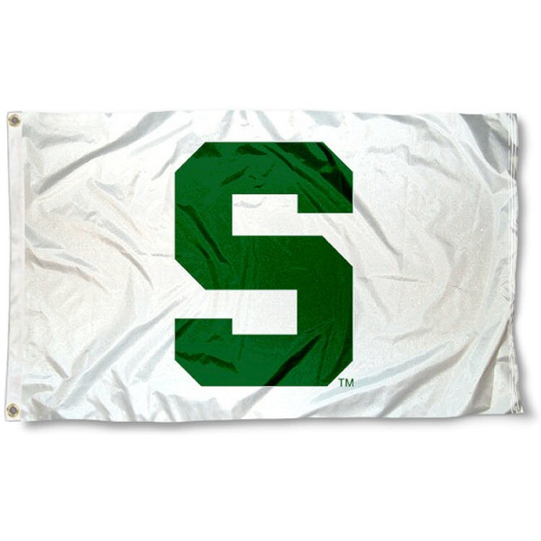 Michigan State University White Flag measures 3'x5', is made of 100% poly, has quadruple stitched sewing, two metal grommets, and has double sided Michigan State University logos. Our Michigan State University White Flag is officially licensed by the selected university and the NCAA