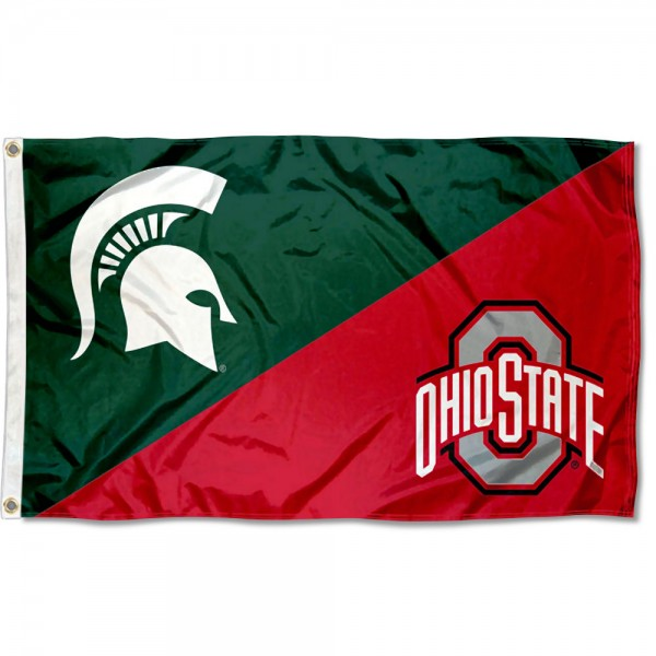 Michigan State vs Ohio State House Divided 3x5 Flag sizes at 3x5 feet, is made of 100% polyester, has quadruple-stitched fly ends, and the university logos are screen printed into the Michigan State vs Ohio State House Divided 3x5 Flag. The Michigan State vs Ohio State House Divided 3x5 Flag is approved by the NCAA and the selected universities.