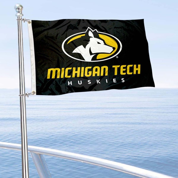 Michigan Tech Huskies Boat and Mini Flag is 12x18 inches, polyester, offers quadruple stitched flyends for durability, has two metal grommets, and is double sided. Our mini flags for Michigan Tech University are licensed by the university and NCAA and can be used as a boat flag, motorcycle flag, golf cart flag, or ATV flag.