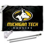 Michigan Tech Huskies Flag Pole and Bracket Kit