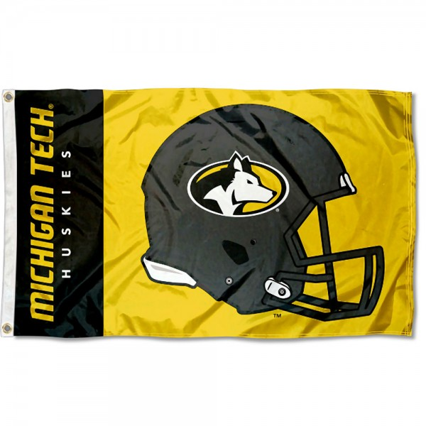 Michigan Tech Huskies Football Helmet Flag measures 3x5 feet, is made of 100% polyester, offers quadruple stitched flyends, has two metal grommets, and offers screen printed NCAA team logos and insignias. Our Michigan Tech Huskies Football Helmet Flag is officially licensed by the selected university and NCAA.