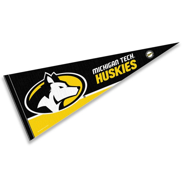 Michigan Tech University Pennant consists of our full size sports pennant which measures 12x30 inches, is constructed of felt, is single sided imprinted, and offers a pennant sleeve for insertion of a pennant stick, if desired. This Michigan Tech University Felt Pennant is officially licensed by the selected university and the NCAA.