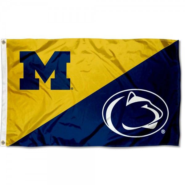 Michigan vs Penn State House Divided 3x5 Flag sizes at 3x5 feet, is made of 100% polyester, has quadruple-stitched fly ends, and the university logos are screen printed into the Michigan vs Penn State House Divided 3x5 Flag. The Michigan vs Penn State House Divided 3x5 Flag is approved by the NCAA and the selected universities.