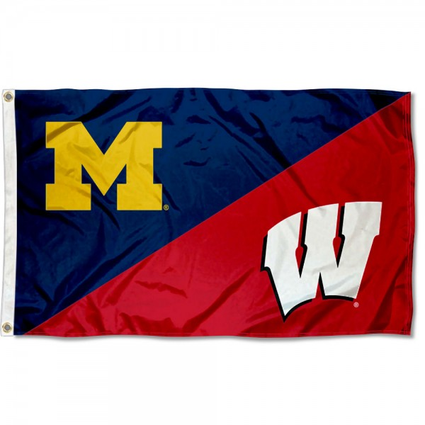 Michigan vs Wisconsin House Divided 3x5 Flag sizes at 3x5 feet, is made of 100% polyester, has quadruple-stitched fly ends, and the university logos are screen printed into the Michigan vs Wisconsin House Divided 3x5 Flag. The Michigan vs Wisconsin House Divided 3x5 Flag is approved by the NCAA and the selected universities.