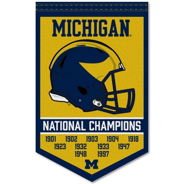 Michigan Wolverines 11 Time Football National Champions Banner consists of our sports banner which measures 15x24 inches, is constructed of rigid felt, is single sided imprinted, and offers a pennant sleeve for insertion of a pennant stick, if desired. This sports banner is a unique collectible and keepsake of the game and is Officially Licensed and University, School, and College Approved.