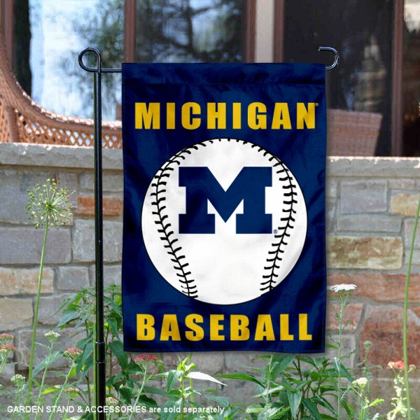 Michigan Wolverines Baseball Team Garden Flag is 13x18 inches in size, is made of 2-layer polyester, screen printed University of Michigan Baseball athletic logos and lettering. Available with Express Shipping, Our Michigan Wolverines Baseball Team Garden Flag is officially licensed and approved by University of Michigan Baseball and the NCAA.