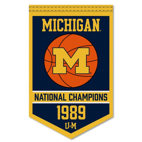 Michigan Wolverines Basketball National Champions Banner consists of our sports dynasty year banner which measures 15x24 inches, is constructed of rigid felt, is single sided imprinted, and offers a pennant sleeve for insertion of a pennant stick, if desired. This sports banner is a unique collectible and keepsake of the legacy game and is Officially Licensed and University, School, and College Approved.