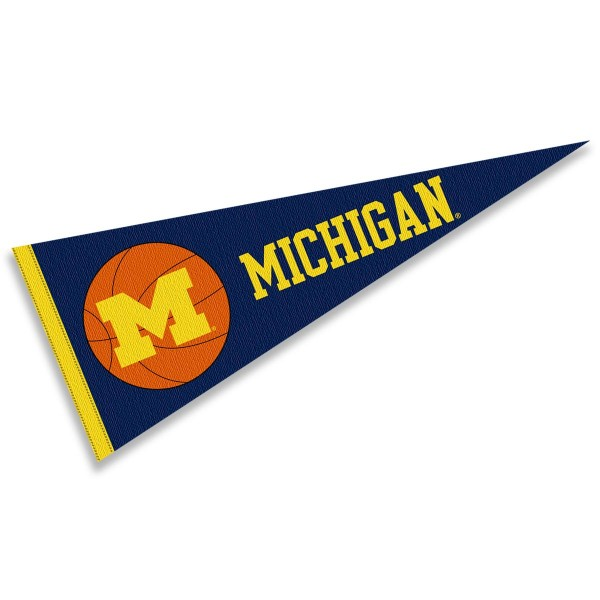 Michigan Wolverines Basketball Pennant consists of our full size sports pennant which measures 12x30 inches, is constructed of felt, is single sided imprinted, and offers a pennant sleeve for insertion of a pennant stick, if desired. This Michigan Wolverines Pennant Decorations is Officially Licensed by the selected university and the NCAA.