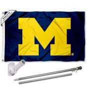 Michigan Wolverines Block M Flag Pole and Bracket Kit
