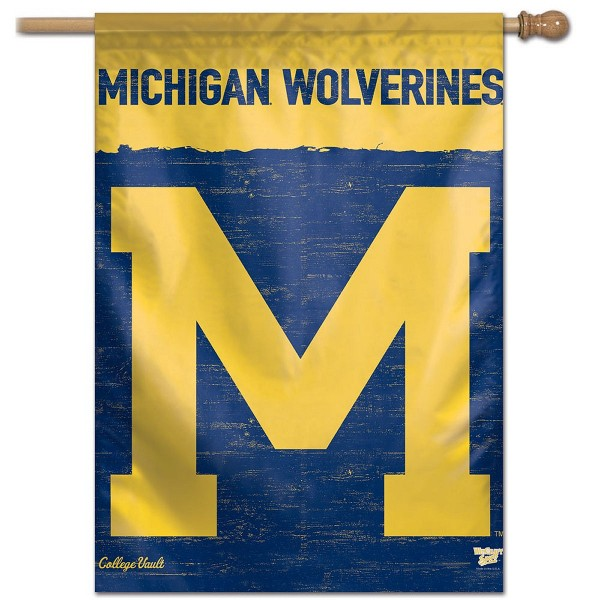 Michigan Wolverines College Vault Logo House Flag is constructed of polyester material, is a vertical house flag, measures 28x40 inches, offers screen printed NCAA team insignias, and has a top pole sleeve to hang vertically. Our Michigan Wolverines College Vault Logo House Flag is officially licensed by the selected university and NCAA.