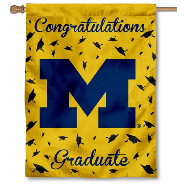 Michigan Wolverines Congratulations Graduate Flag measures 30x40 inches, is made of poly, has a top hanging sleeve, and offers dye sublimated Michigan Wolverines logos. This Decorative Michigan Wolverines Congratulations Graduate House Flag is officially licensed by the NCAA.