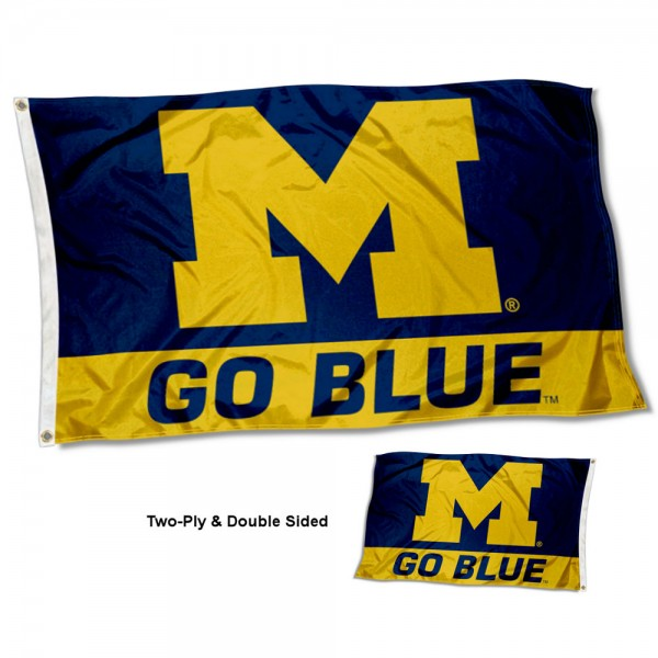 Michigan Wolverines Double Sided Flag measures 3'x5', is made of 2 layer 100% polyester, has quadruple stitched flyends for durability, and is readable correctly on both sides. Our Michigan Wolverines Double Sided Flag is officially licensed by the university, school, and the NCAA.