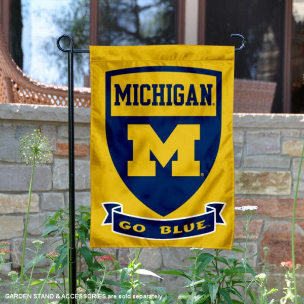 Michigan Wolverines Double Sided Shield Logo Garden Flag is 13x18 inches in size, is made of 2-layer polyester, screen printed university athletic logos and lettering, and is readable and viewable correctly on both sides. Available same day shipping, our Michigan Wolverines Double Sided Shield Logo Garden Flag is officially licensed and approved by the university and the NCAA.