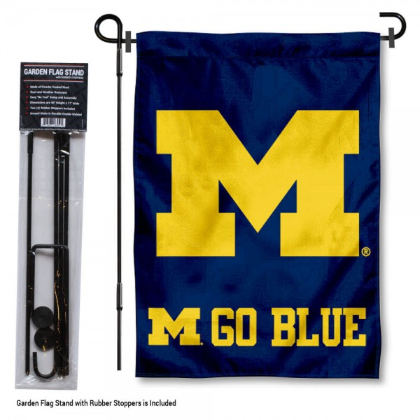 "Michigan Wolverines Garden Flag and Stand kit includes our 13""x18"" garden banner which is made of 2 ply poly with liner and has screen printed licensed logos. Also, a 40""x17"" inch garden flag stand is included so your Michigan Wolverines Garden Flag and Stand is ready to be displayed with no tools needed for setup. Fast Overnight Shipping is offered and the flag is Officially Licensed and Approved by the selected team."