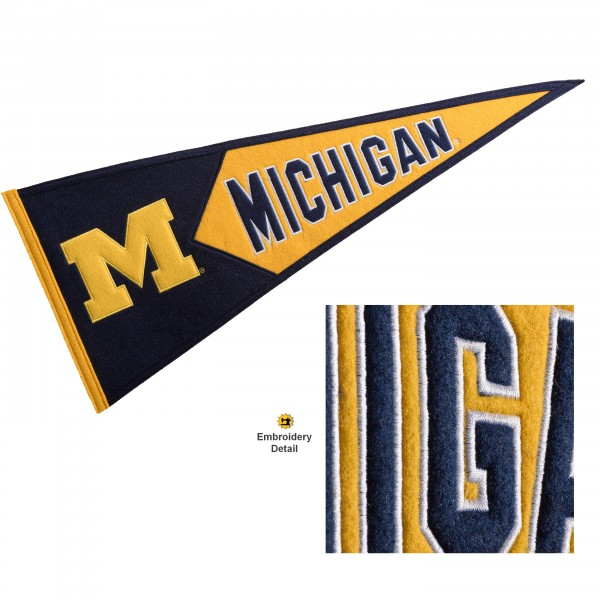 Michigan Wolverines Genuine Wool Pennant consists of our full size 13x32 inch Winning Streak Sports wool college pennant. The logos, lettering and insignia is quality embroidered and appliqued, feature a alternate logo color header, and has sewn wool perimeter. This Michigan Wolverines College Pennant Pennant is Officially Licensed and University Approved with Overnight Next Day Shipping.