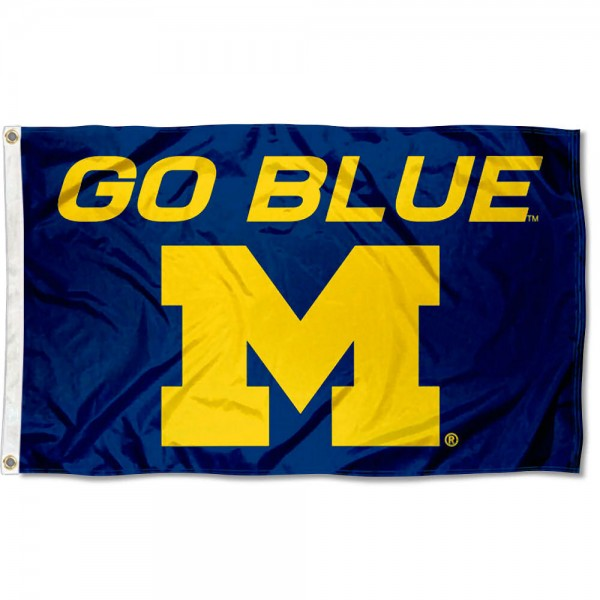 Michigan Wolverines Go Blue 3x5 Flag is made of 100% nylon, offers quad stitched flyends, measures 3x5 feet, has two metal grommets, and is viewable from both side with the opposite side being a reverse image. Our Michigan Wolverines Go Blue 3x5 Flag is officially licensed by the selected college and NCAA