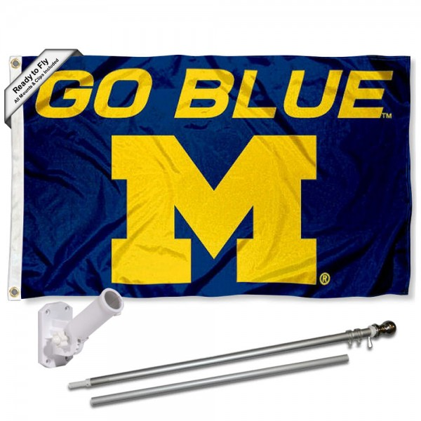Our Michigan Wolverines Go Blue Flag Pole and Bracket Kit includes the flag as shown and the recommended flagpole and flag bracket. The flag is made of nylon, has quad-stitched flyends, and the NCAA Licensed team logos are double sided screen printed. The flagpole and bracket are made of rust proof aluminum and includes all hardware so this kit is ready to install and fly.