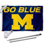 Michigan Wolverines Go Blue Flag Pole and Bracket Kit