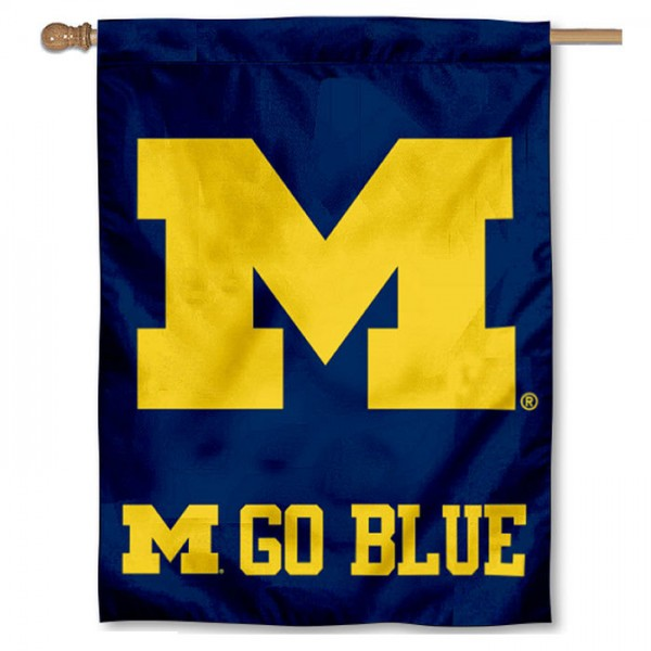 Michigan Wolverines Go Blue House Flag is a vertical house flag which measures 30x40 inches, is made of 2 ply 100% polyester, offers screen printed NCAA team insignias, and has a top pole sleeve to hang vertically. Our Michigan Wolverines Go Blue House Flag is officially licensed by the selected university and the NCAA.