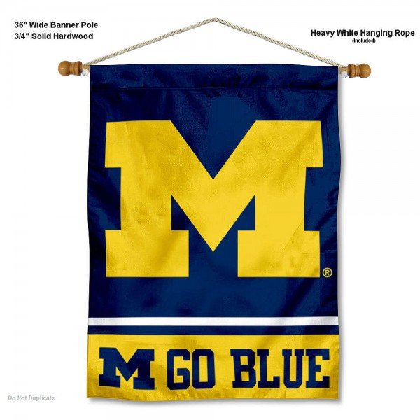 "Michigan Wolverines Go Blue Wall Banner is constructed of polyester material, measures a large 30""x40"", offers screen printed athletic logos, and includes a sturdy 3/4"" diameter and 36"" wide banner pole and hanging cord. Our Michigan Wolverines Go Blue Wall Banner is Officially Licensed by the selected college and NCAA."