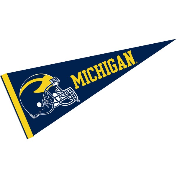 Michigan Wolverines Helmet Pennant consists of our full size sports pennant which measures 12x30 inches, is constructed of felt, is single sided imprinted, and offers a pennant sleeve for insertion of a pennant stick, if desired. This Michigan Wolverines Pennant Decorations is Officially Licensed by the selected university and the NCAA.