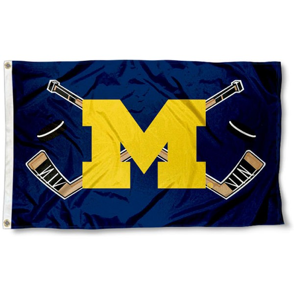 Michigan Wolverines Hockey Flag measures 3'x5', is made of 100% poly, has quadruple stitched sewing, two metal grommets, and has double sided Michigan Wolverines logos. Our Michigan Wolverines Hockey Flag is officially licensed by the selected university and the NCAA