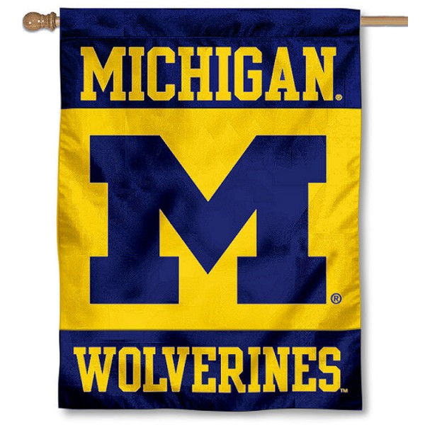 Michigan Wolverines House Flag is a vertical house flag which measures 30x40 inches, is made of 2 ply 100% polyester, offers dye sublimated NCAA team insignias, and has a top pole sleeve to hang vertically. Our Michigan Wolverines House Flag is officially licensed by the selected university and the NCAA.