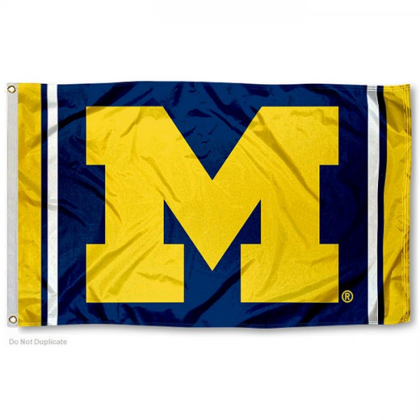 Michigan Wolverines Jersey Stripes Flag measures 3x5 feet, is made of 100% polyester, offers quadruple stitched flyends, has two metal grommets, and offers screen printed NCAA team logos and insignias. Our Michigan Wolverines Jersey Stripes Flag is officially licensed by the selected university and NCAA.