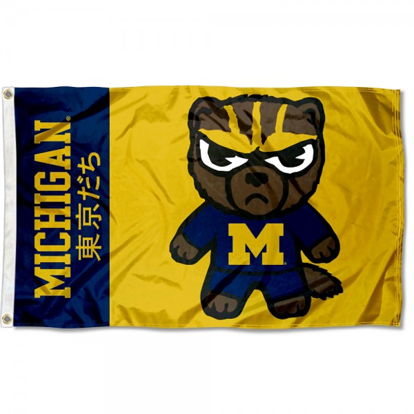 Michigan Wolverines Kawaii Tokyo Dachi Yuru Kyara Flag measures 3x5 feet, is made of 100% polyester, offers quadruple stitched flyends, has two metal grommets, and offers screen printed NCAA team logos and insignias. Our Michigan Wolverines Kawaii Tokyo Dachi Yuru Kyara Flag is officially licensed by the selected university and NCAA.