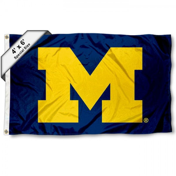 Michigan Wolverines Large 4x6 Flag measures 4x6 feet, is made thick woven polyester, has quadruple stitched flyends, two metal grommets, and offers screen printed NCAA Michigan Wolverines Large athletic logos and insignias. Our Michigan Wolverines Large 4x6 Flag is officially licensed by Michigan Wolverines and the NCAA.