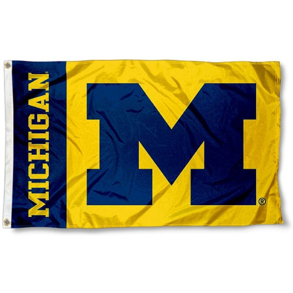Michigan Wolverines Maize Logo Flag measures 3'x5', is made of 100% poly, has quadruple stitched sewing, two metal grommets, and has double sided Team University logos. Our Michigan Wolverines 3x5 Flag is officially licensed by the selected university and the NCAA.
