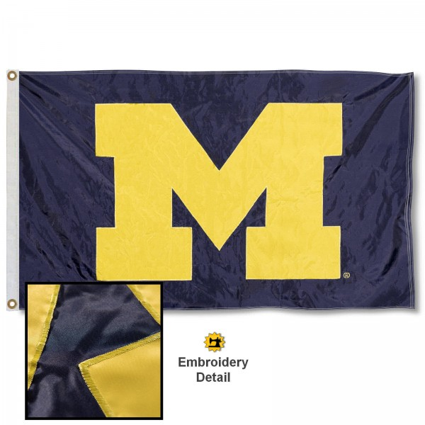 Michigan Wolverines Nylon Embroidered Flag measures 3'x5', is made of 100% nylon, has quadruple flyends, two metal grommets, and has double sided appliqued and embroidered University logos. These Michigan Wolverines 3x5 Flags are officially licensed by the selected university and the NCAA.