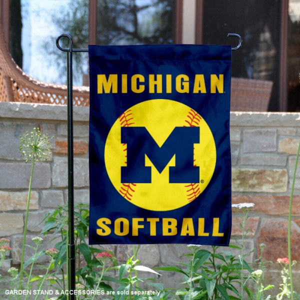 Michigan Wolverines Softball Garden Flag and Yard Banner is 13x18 inches in size, is made of 2-layer double sided with liner polyester, screen printed Michigan Wolverines athletic logos and lettering. Available with Same Day Express Shipping, Our Michigan Wolverines Softball Garden Flag and Yard Banner is officially licensed and approved by Michigan Wolverines and the NCAA.