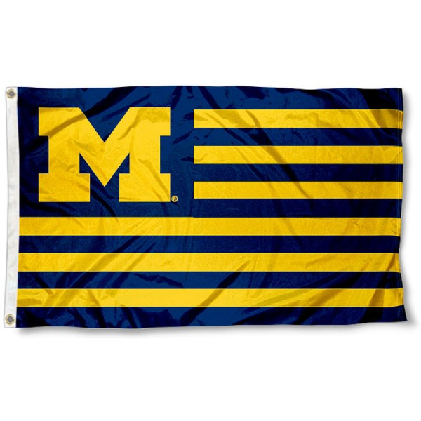 Michigan Wolverines Striped Flag measures 3'x5', is made of polyester, offers quadruple stitched flyends for durability, has two metal grommets, and is viewable from both sides with a reverse image on the opposite side. Our Michigan Wolverines Striped Flag is officially licensed by the selected school university and the NCAA