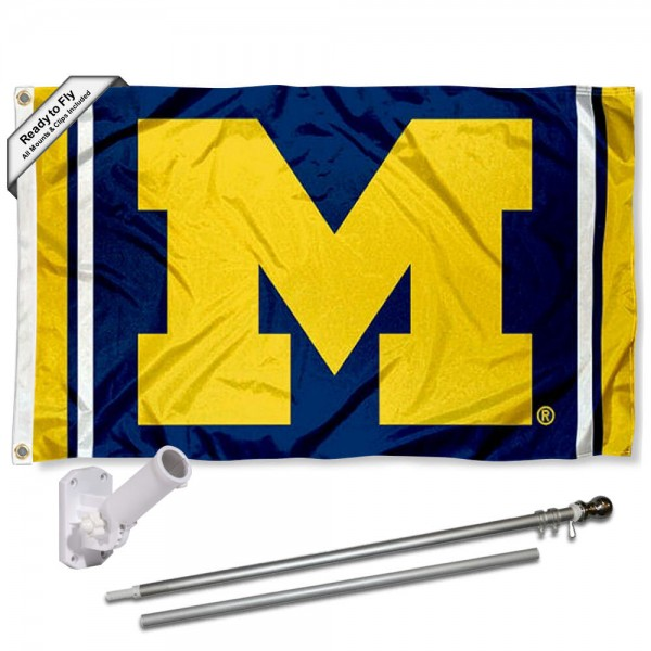 Our Michigan Wolverines Stripes Logo Flag Pole and Bracket Kit includes the flag as shown and the recommended flagpole and flag bracket. The flag is made of polyester, has quad-stitched flyends, and the NCAA Licensed team logos are double sided screen printed. The flagpole and bracket are made of rust proof aluminum and includes all hardware so this kit is ready to install and fly.