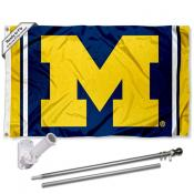 Michigan Wolverines Stripes Logo Flag Pole and Bracket Kit