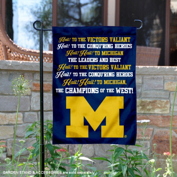 Michigan Wolverines The Victors Fight Song Garden Flag is 13x18 inches in size, is made of 2-layer polyester, screen printed university athletic logos and lettering, and is readable and viewable correctly on both sides. Available same day shipping, our Michigan Wolverines The Victors Fight Song Garden Flag is officially licensed and approved by the university and the NCAA.