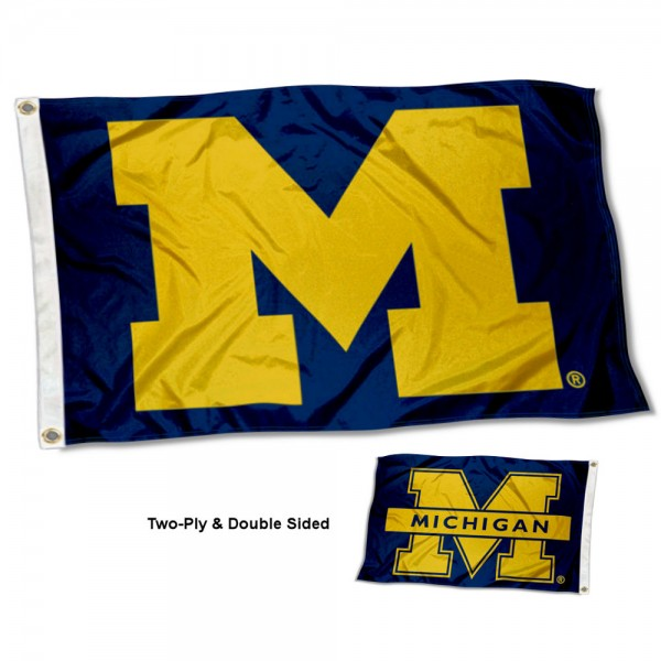 Michigan Wolverines Two Logo Double Sided Flag measures 3'x5', is made of 2 layer 100% polyester, has quadruple stitched flyends for durability, and is readable correctly on both sides. Our Michigan Wolverines Two Logo Double Sided Flag is officially licensed by the university, school, and the NCAA.