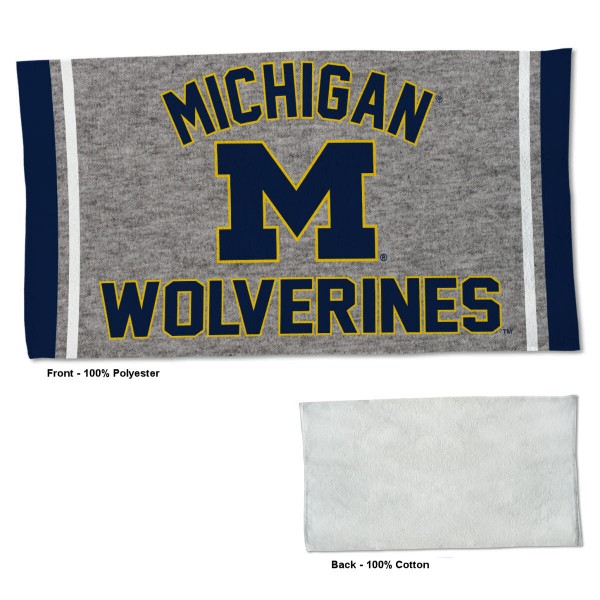 Michigan Wolverines Workout Exercise Towel measures 22x42 inches, is made of 100% Polyester on the front and 100% Cotton on the back, has double stitched sewing perimeter, and Graphics and Logos, as shown. Our Michigan Wolverines Workout Exercise Towel is officially licensed by the selected university and the NCAA. Also, machine washable and dryer safe.