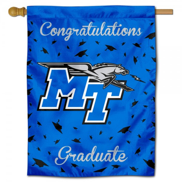 Middle Tennessee Blue Raiders Congratulations Graduate Flag measures 30x40 inches, is made of poly, has a top hanging sleeve, and offers dye sublimated Middle Tennessee Blue Raiders logos. This Decorative Middle Tennessee Blue Raiders Congratulations Graduate House Flag is officially licensed by the NCAA.