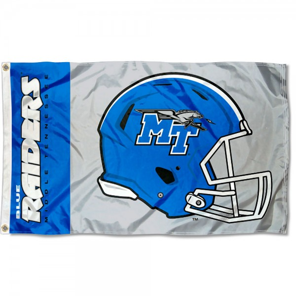 Middle Tennessee Blue Raiders Football Helmet Flag measures 3x5 feet, is made of 100% polyester, offers quadruple stitched flyends, has two metal grommets, and offers screen printed NCAA team logos and insignias. Our Middle Tennessee Blue Raiders Football Helmet Flag is officially licensed by the selected university and NCAA.
