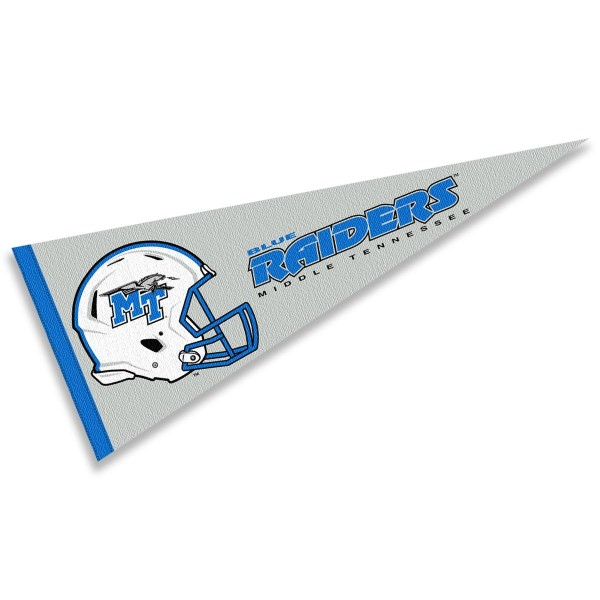 Middle Tennessee Blue Raiders Helmet Pennant consists of our full size sports pennant which measures 12x30 inches, is constructed of felt, is single sided imprinted, and offers a pennant sleeve for insertion of a pennant stick, if desired. This Middle Tennessee Blue Raiders Pennant Decorations is Officially Licensed by the selected university and the NCAA.