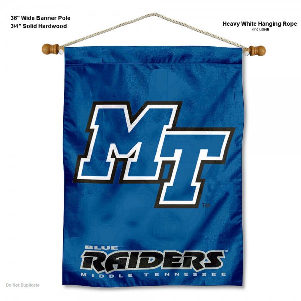 """Middle Tennessee Blue Raiders Wall Banner is constructed of polyester material, measures a large 30""""x40"""", offers screen printed athletic logos, and includes a sturdy 3/4"""" diameter and 36"""" wide banner pole and hanging cord. Our Middle Tennessee Blue Raiders Wall Banner is Officially Licensed by the selected college and NCAA."""