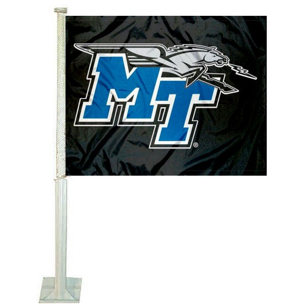 Middle Tennessee State Car Window Flag measures 12x15 inches, is constructed of sturdy 2 ply polyester, and has dye sublimated school logos which are readable and viewable correctly on both sides. Middle Tennessee State Car Window Flag is officially licensed by the NCAA and selected university.