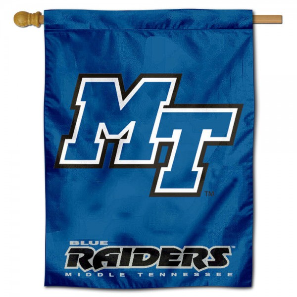 """Middle Tennessee State House Flag is constructed of polyester material, is a vertical house flag, measures 30""""x40"""", offers screen printed athletic insignias, and has a top pole sleeve to hang vertically. Our Middle Tennessee State House Flag is Officially Licensed by Middle Tennessee State and NCAA."""